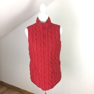 Cold water Creek Women's Red Quilted Vest Small